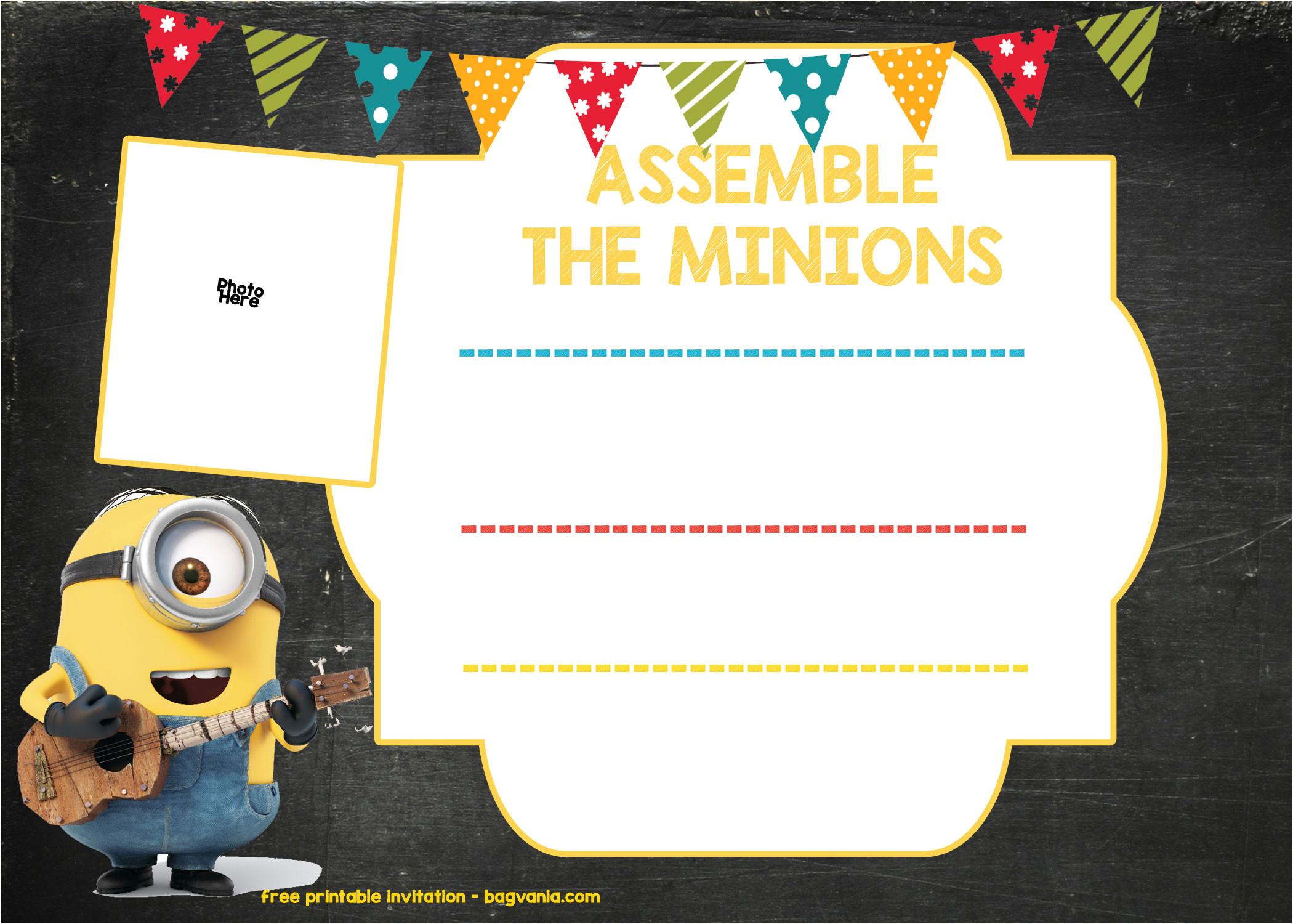 minion birthday invitation template free download