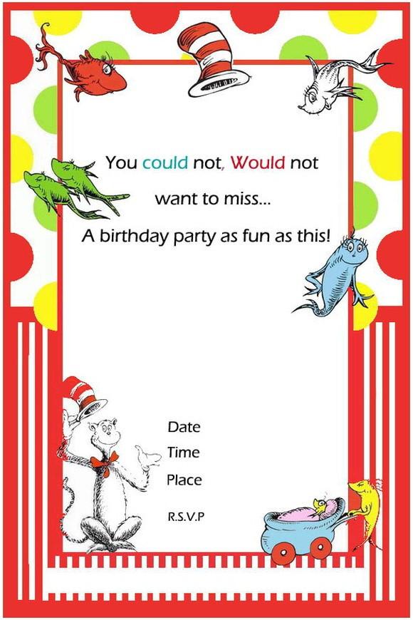 dr seuss first birthday invitations