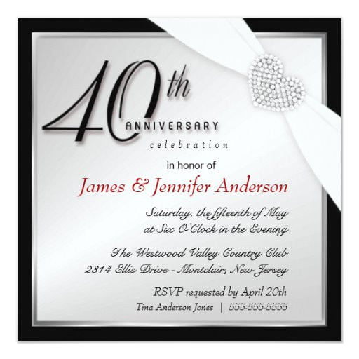 elegant 40th annniversary party invitations 161411362826860596