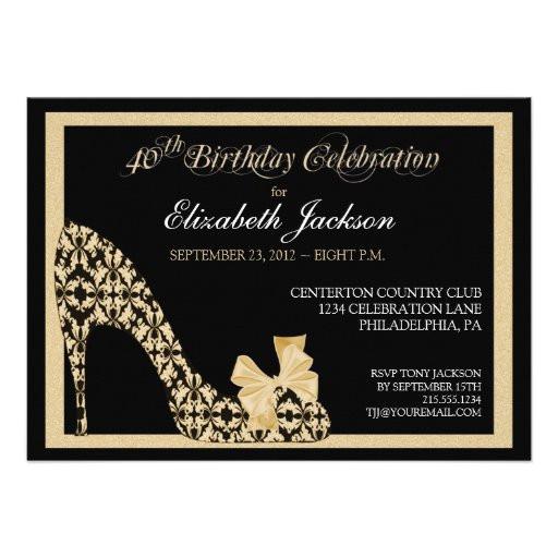 elegant 40th birthday damask shoe invitation 161837041911395563
