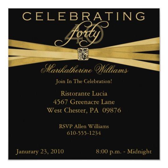 elegant 40th birthday party invitations 161219330515700028