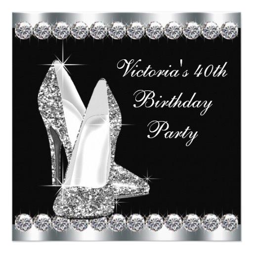 womans elegant black 40th birthday party invitation 161180605566173652