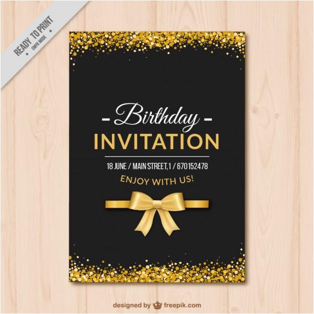 elegant birthday invitation with golden details 878873
