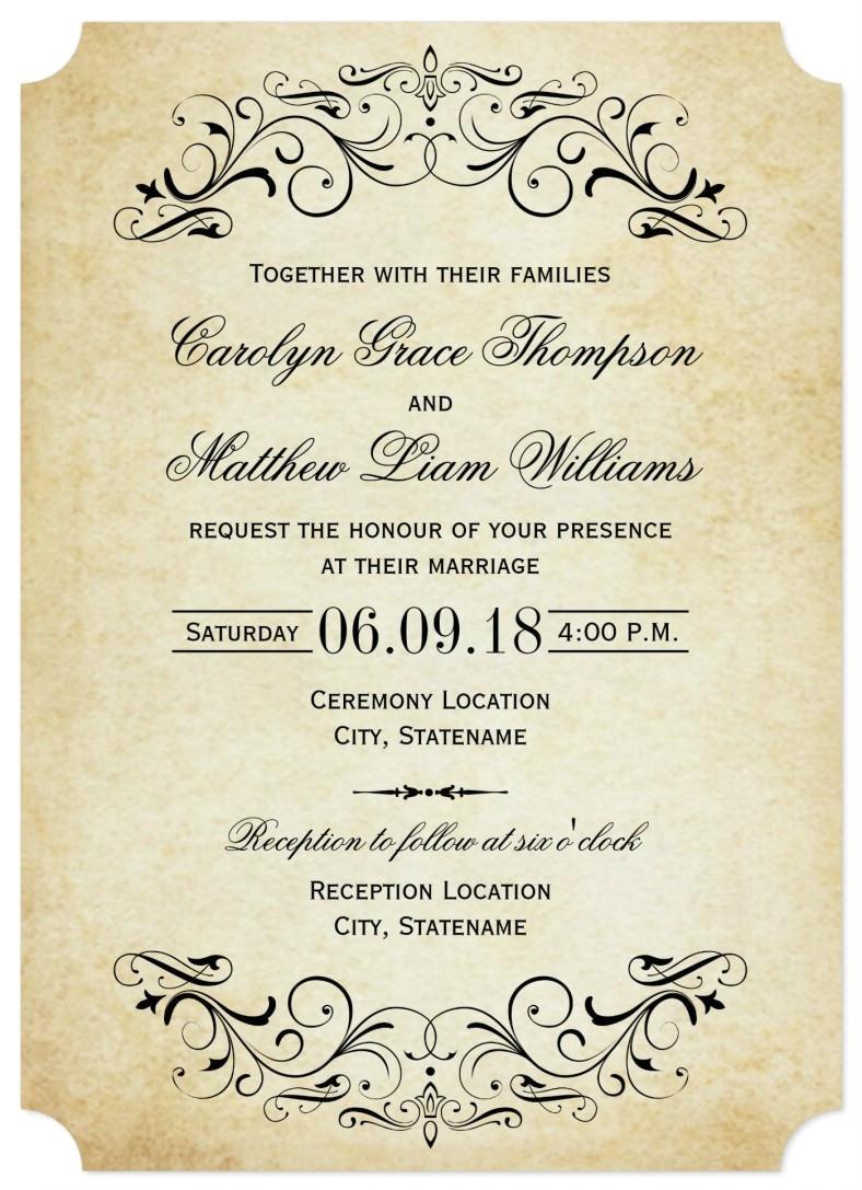 sample elegant wedding invitation