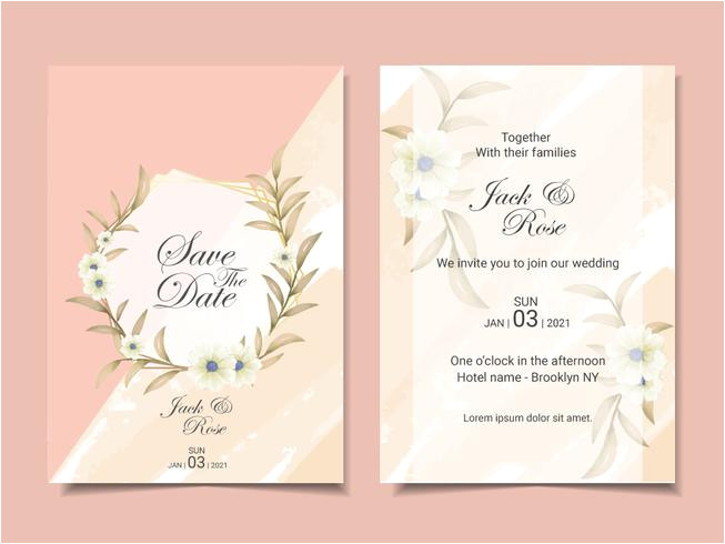 556654 elegant wedding invitation template cards with beautiful floral arrangement modern watercolor cards template multipurpose design concept