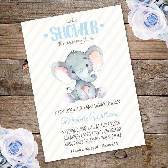 elephant baby shower invitation template 2