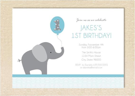 elephant birthday invitation set of 12