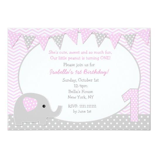 elephant first birthday party invitations 161823610446100010