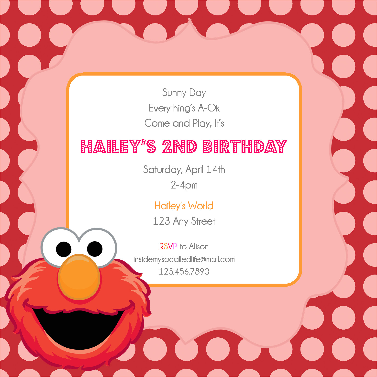 elmo printable birthday invitation