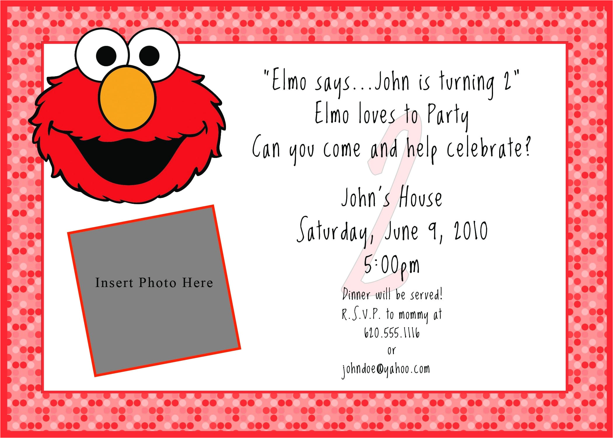 printable free elmo invitation
