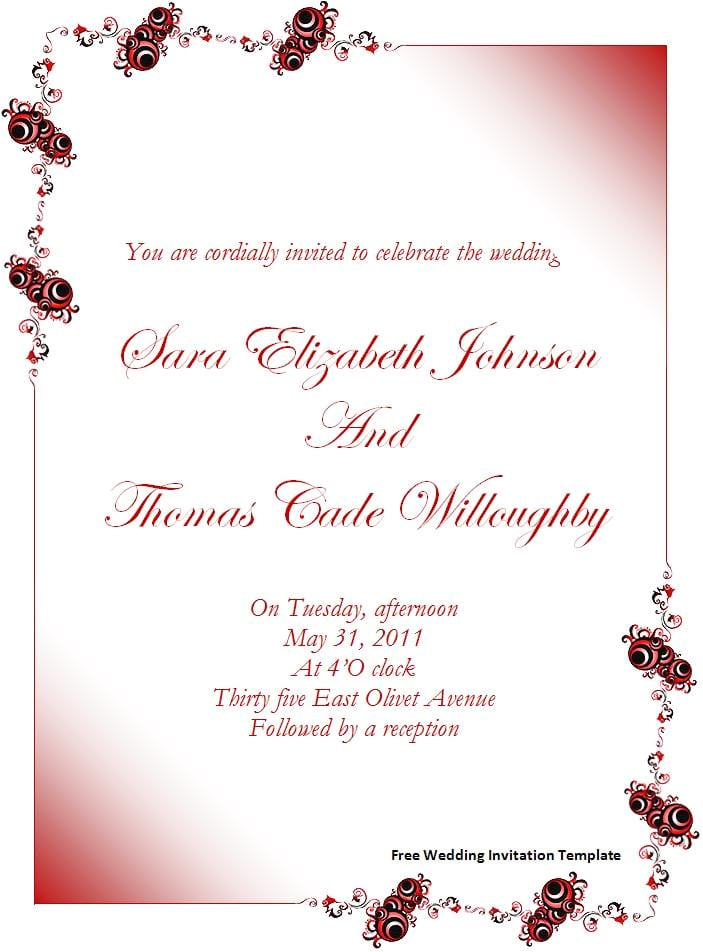 download free wedding invitation template