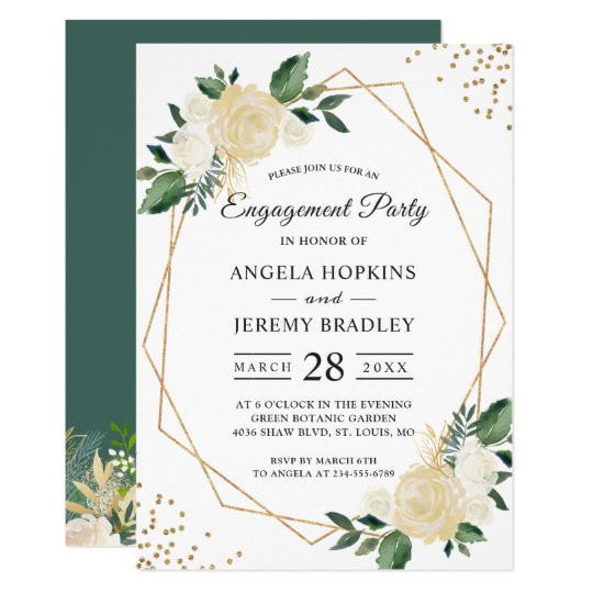 emerald green floral gold frame engagement party invitation 256204283260248713