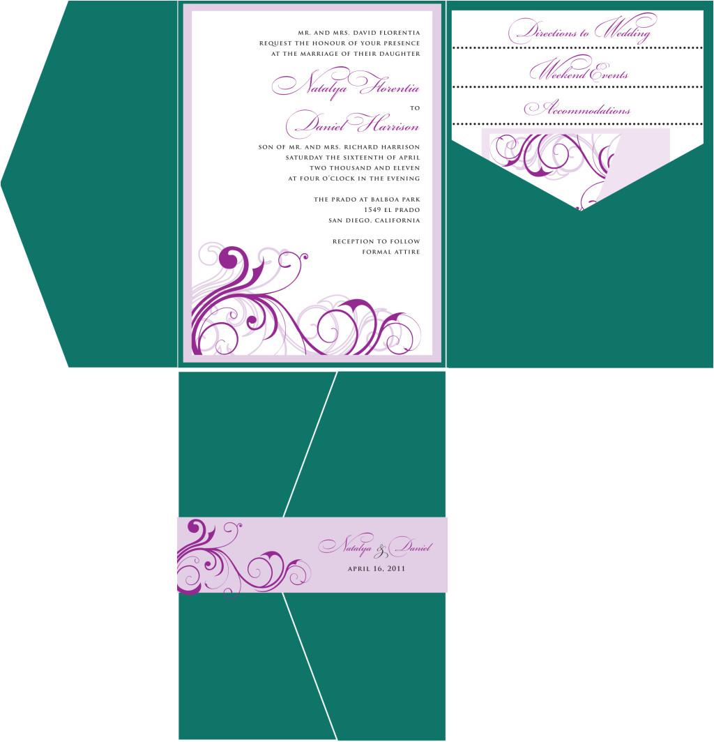 emerald green purple wedding invitation