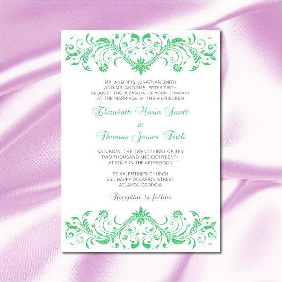 emerald wedding invitation template diy