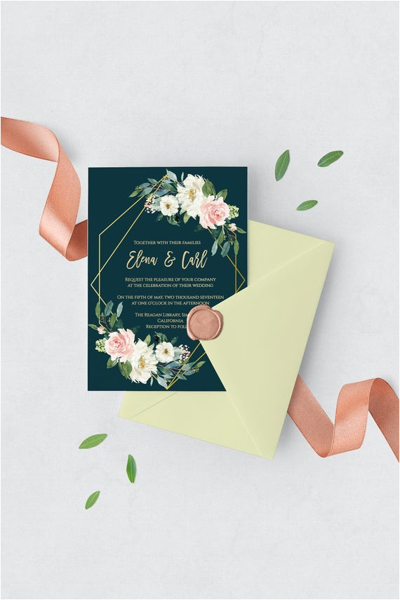 emerald wedding invitation template