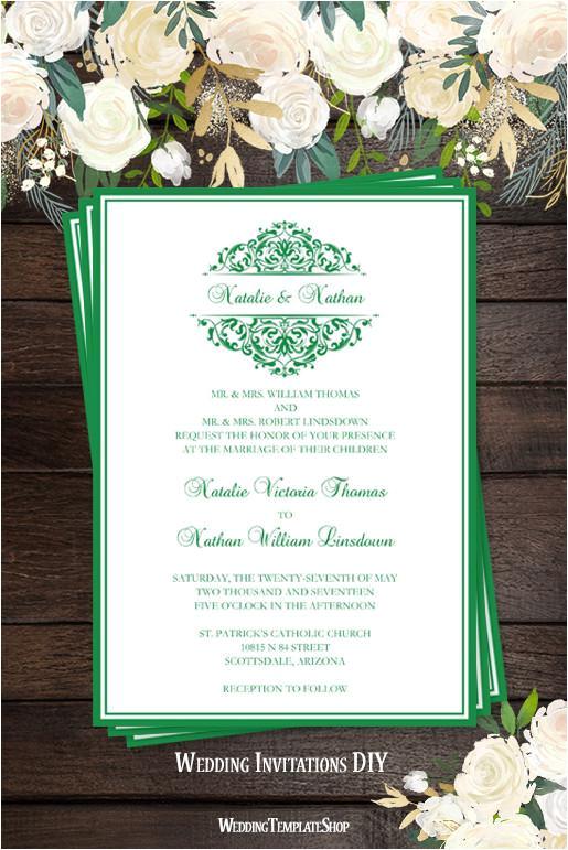 grace wedding invitation dark emerald green