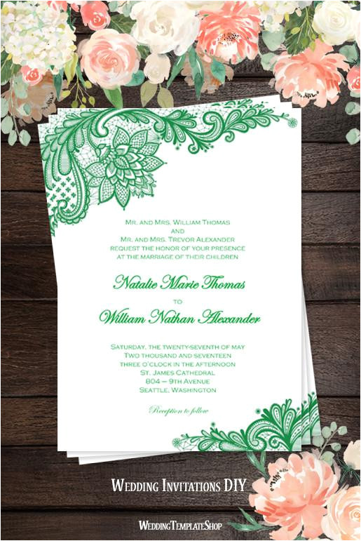 vintage lace wedding invitation emerald green