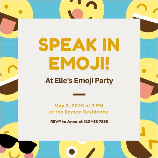 macvpikffya blue and yellow smiley emoji party invitation