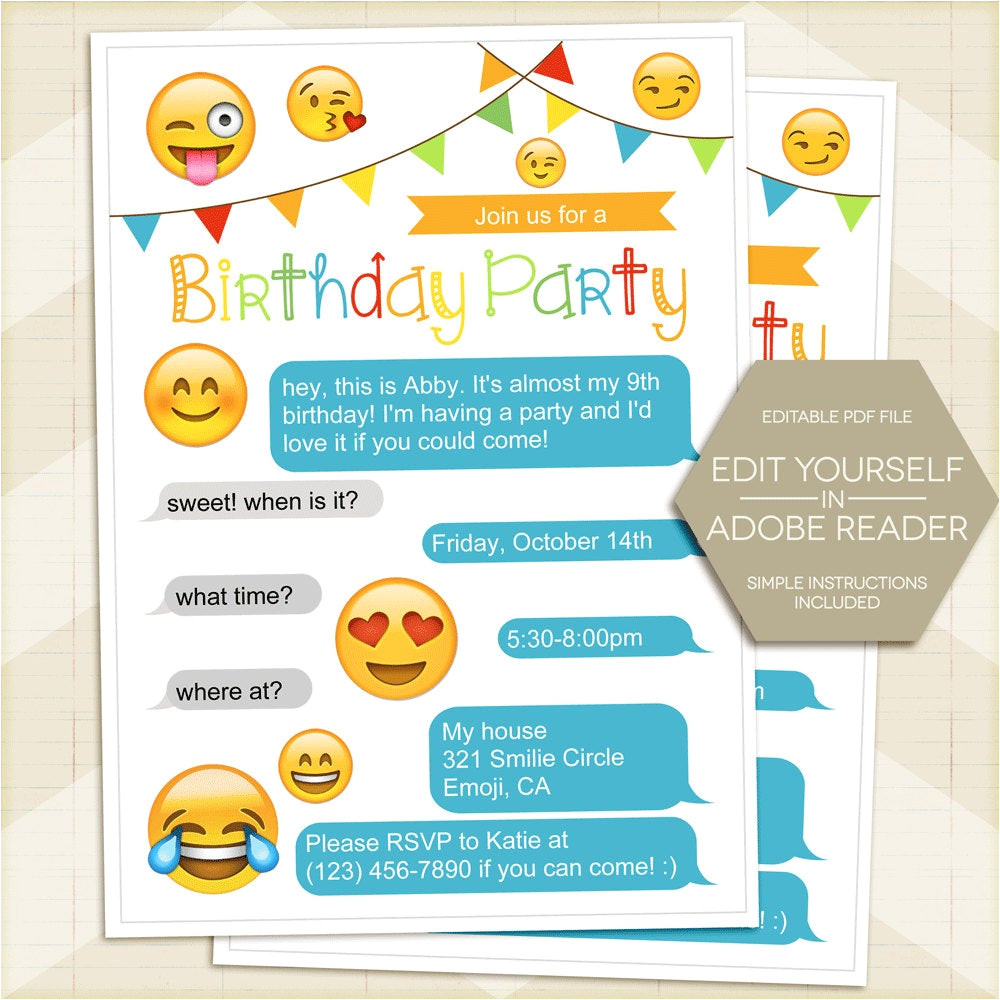 emoji birthday party invitation smilie