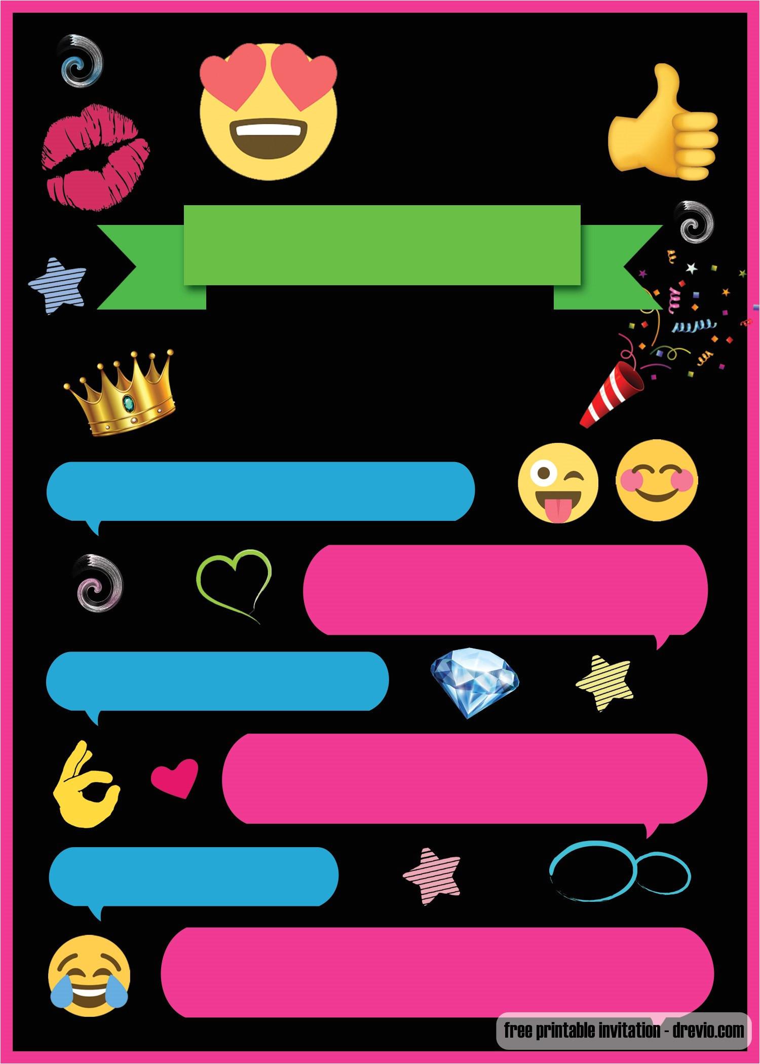 free printable emoji chat invitation template