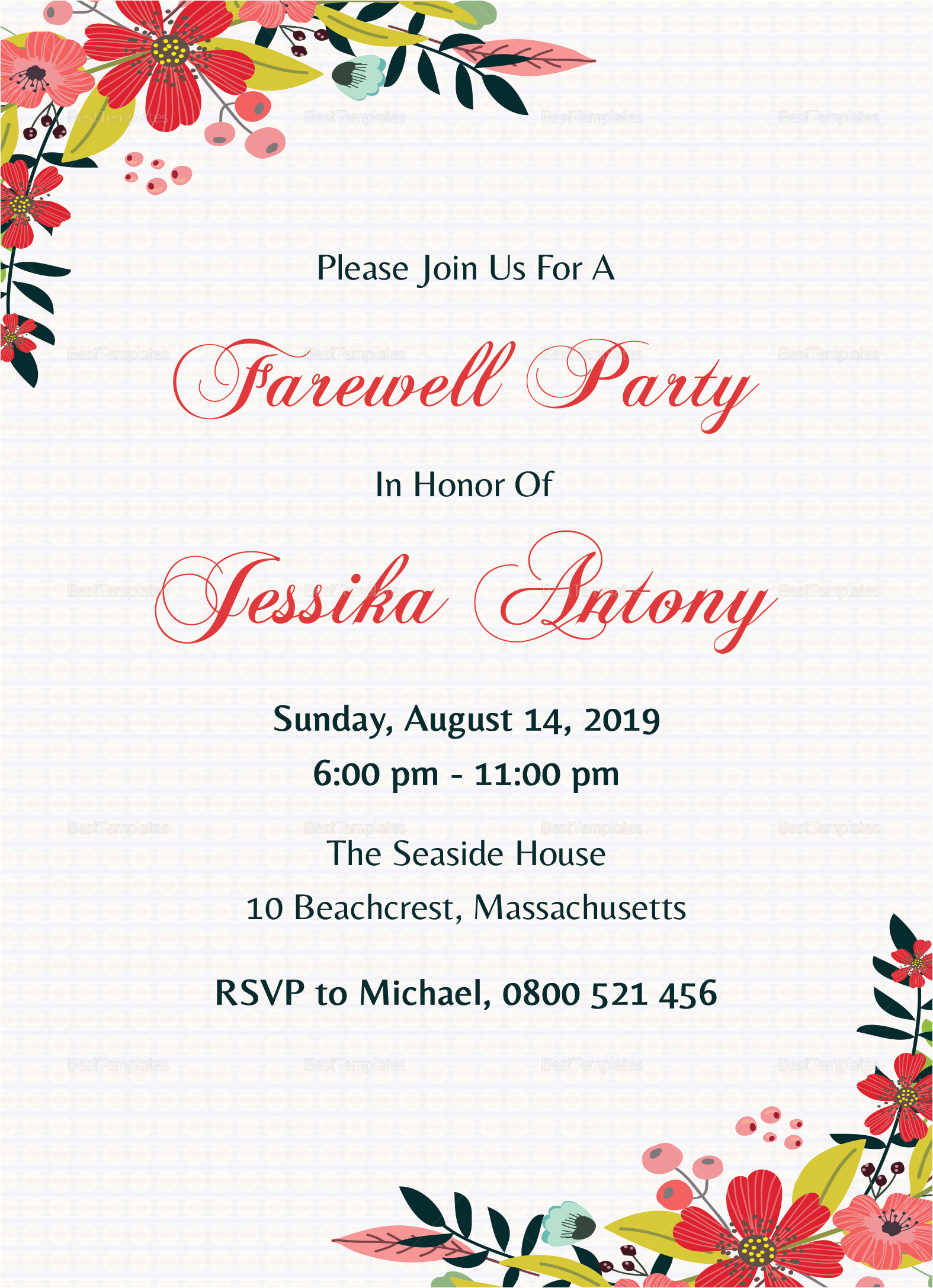 classic farewell party invitation