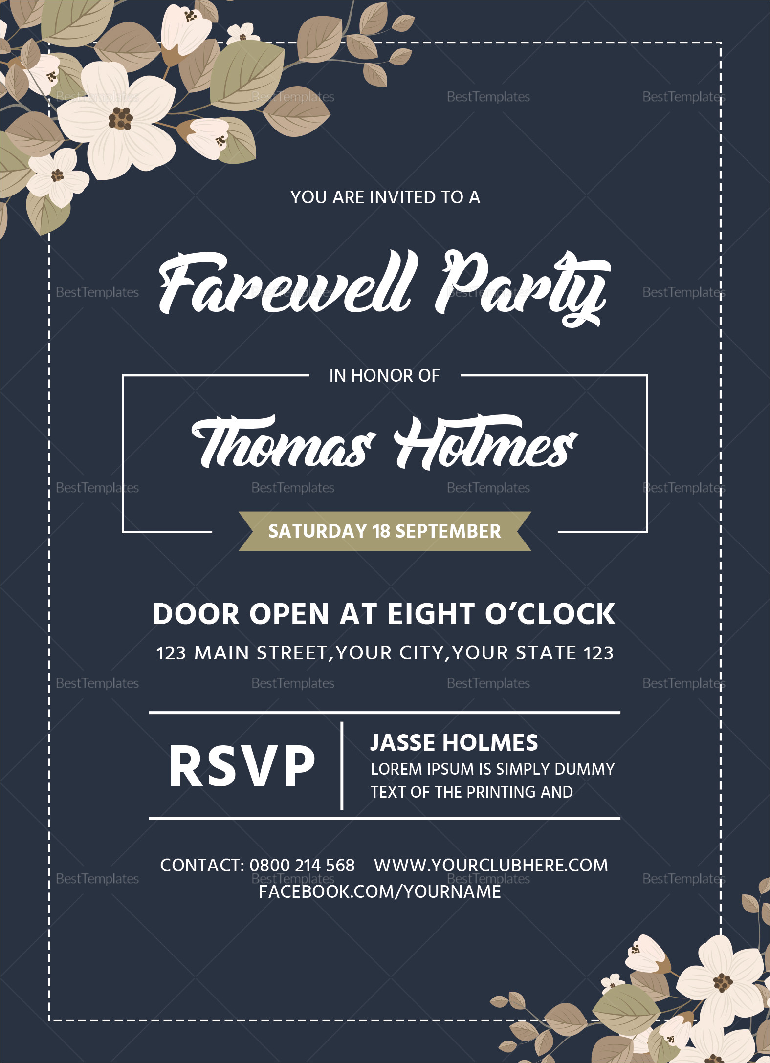 farewell party invitation card
