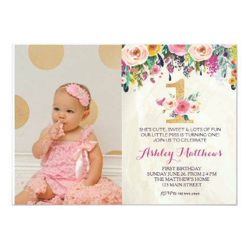 1st birthday first beautiful floral invitation card 256284363377385870