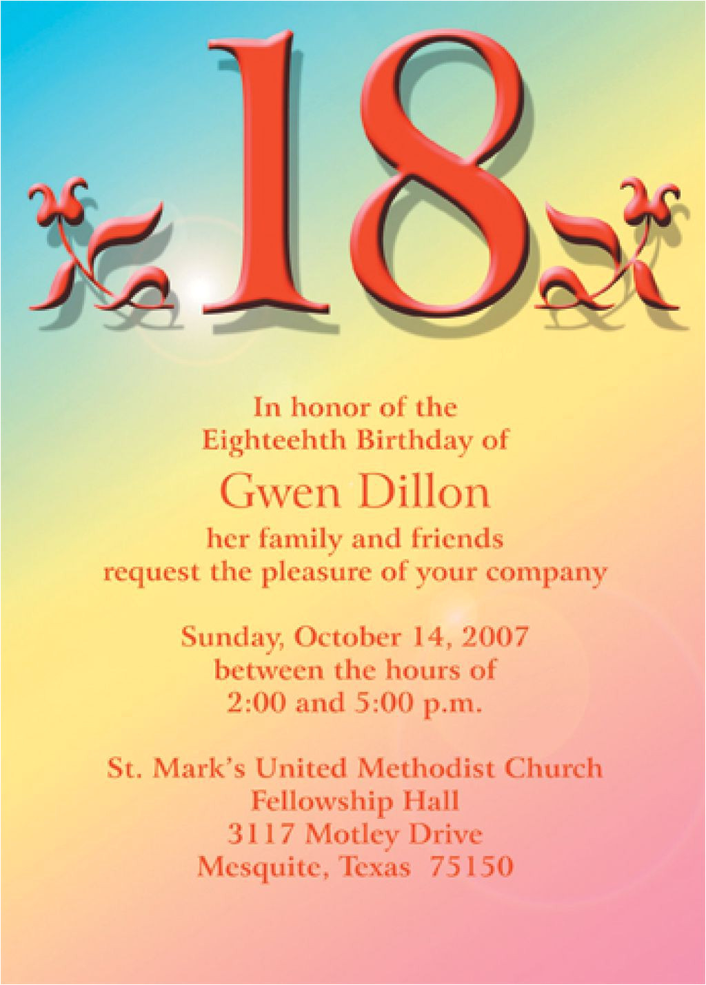 18th birthday invitation layout
