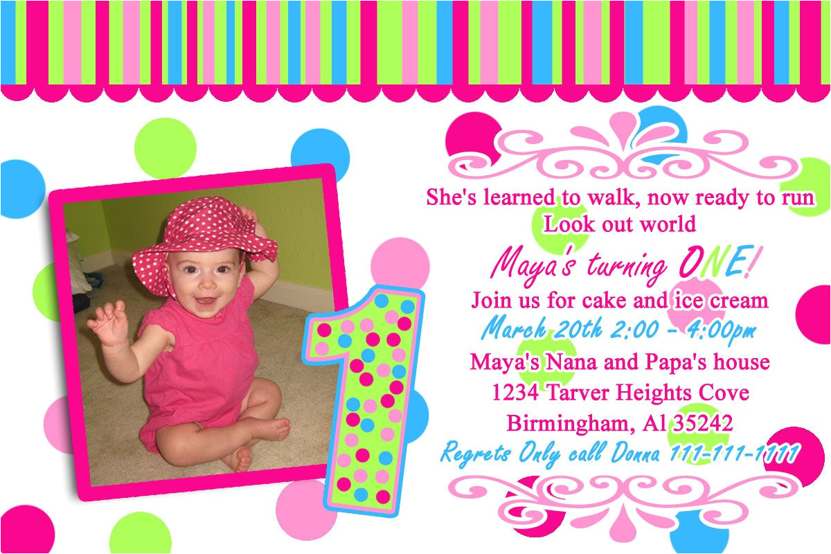 1st year birthday invitation cards sample