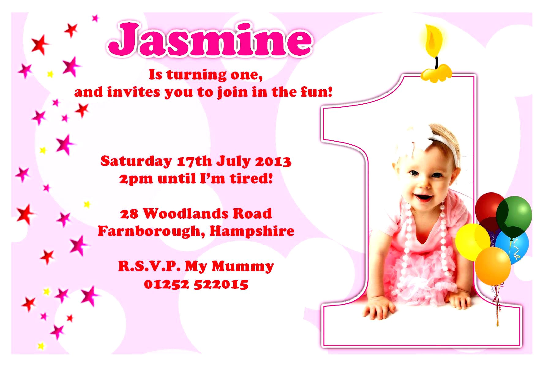 birthday invitation card example