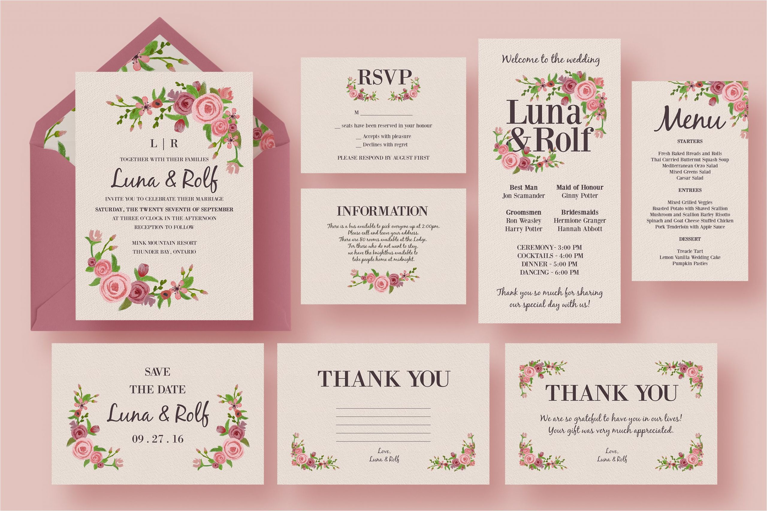 328708 floral wedding invitation suite
