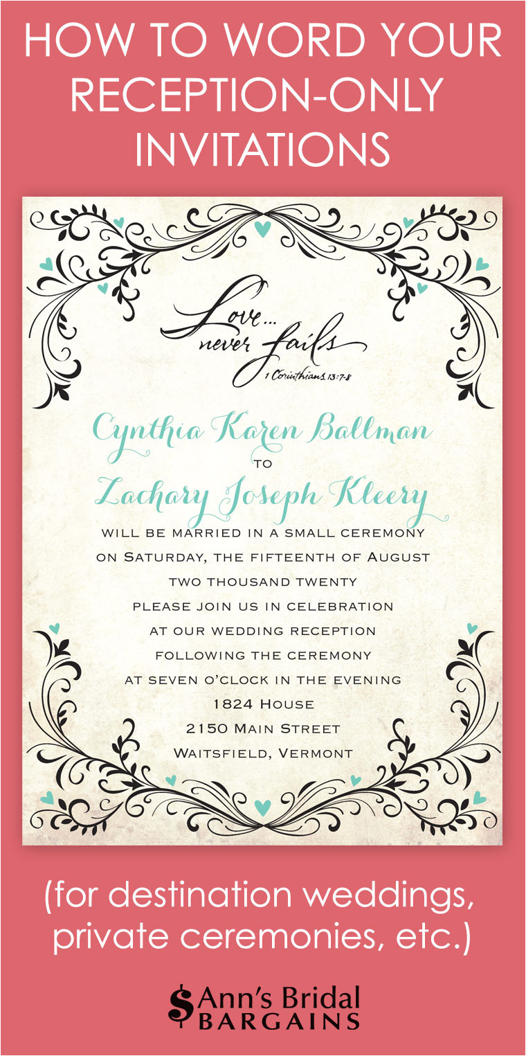 word your reception only invitations