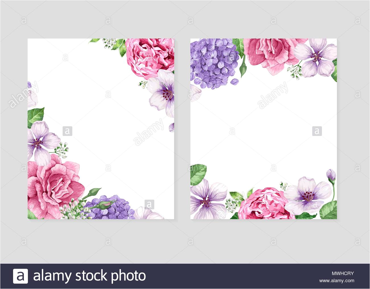 floral blank template set flowers in watercolor style isolated on white background for web banners polygraphy wedding invitation border image187853343
