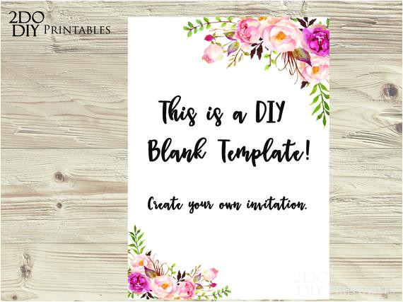 floral edit yourself invitation ms word