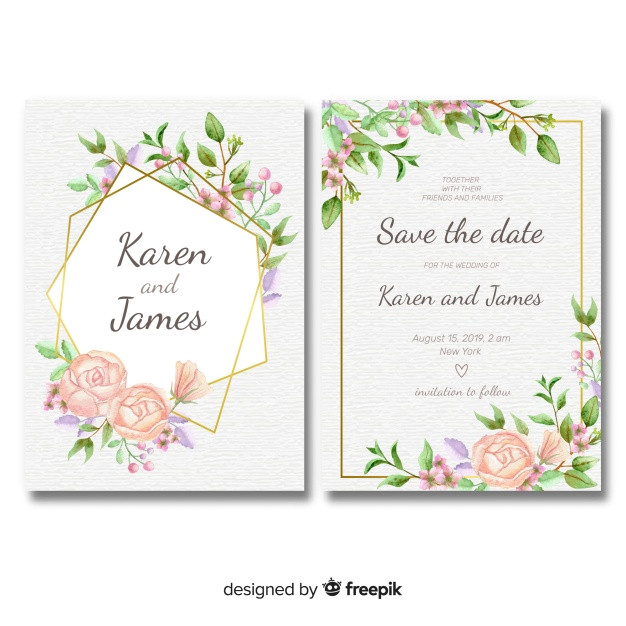 floral wedding invitation template with golden frame 2915166