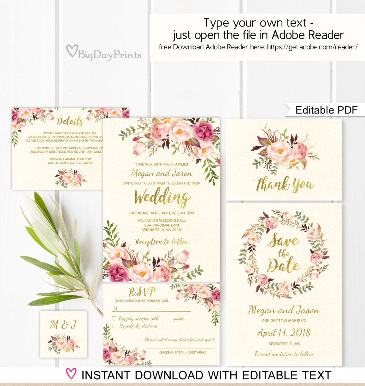floral wedding invitation template ivory
