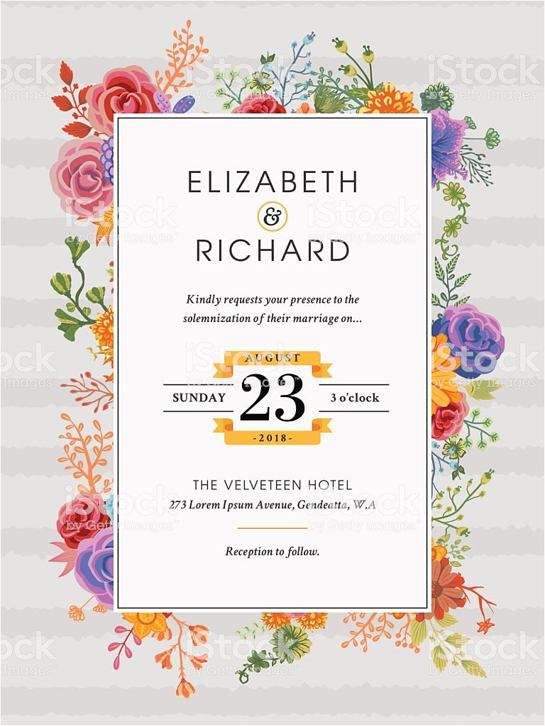 floral wedding invitation template gm625671800 110208809