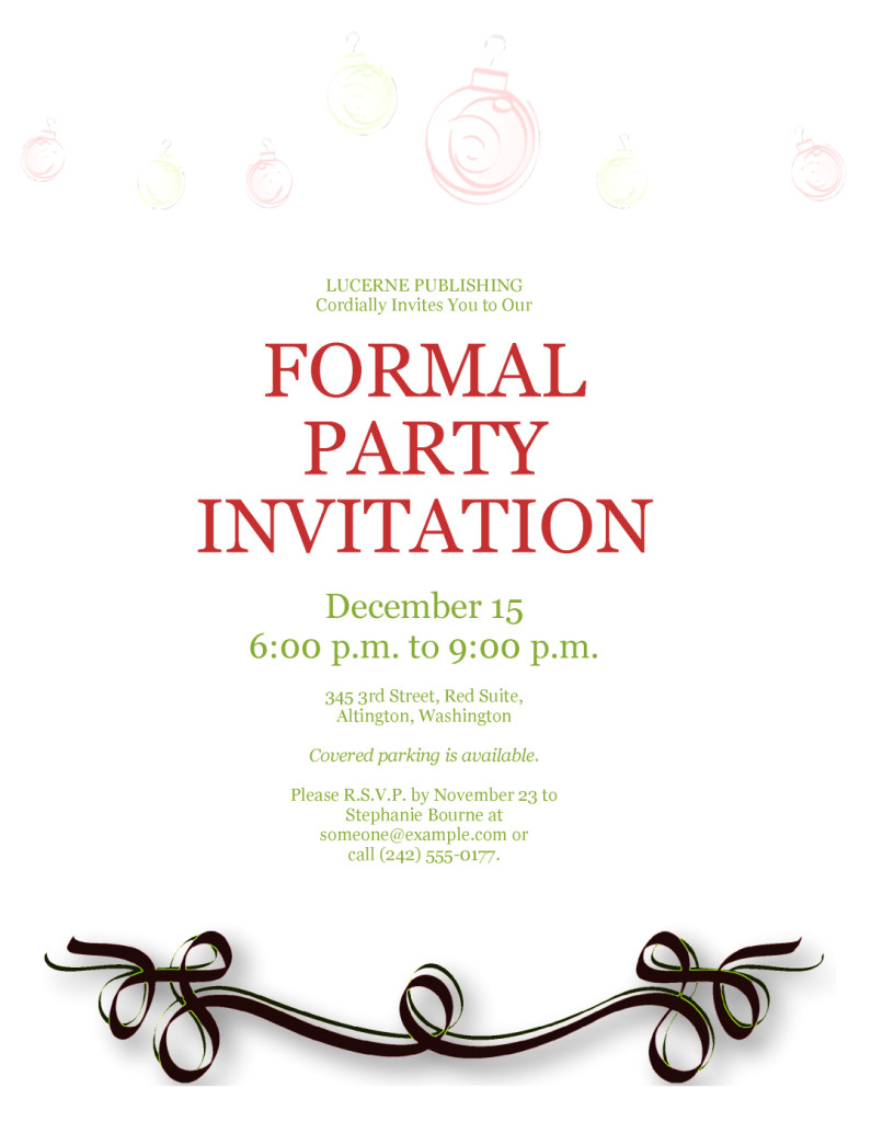 formal party invitation