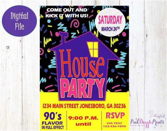 house party invitation 90s party invitation
