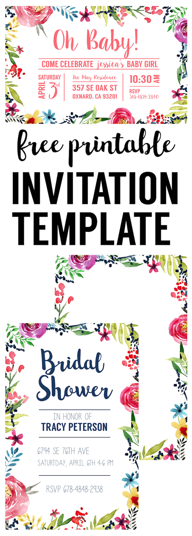 floral borders invitations free printable templates