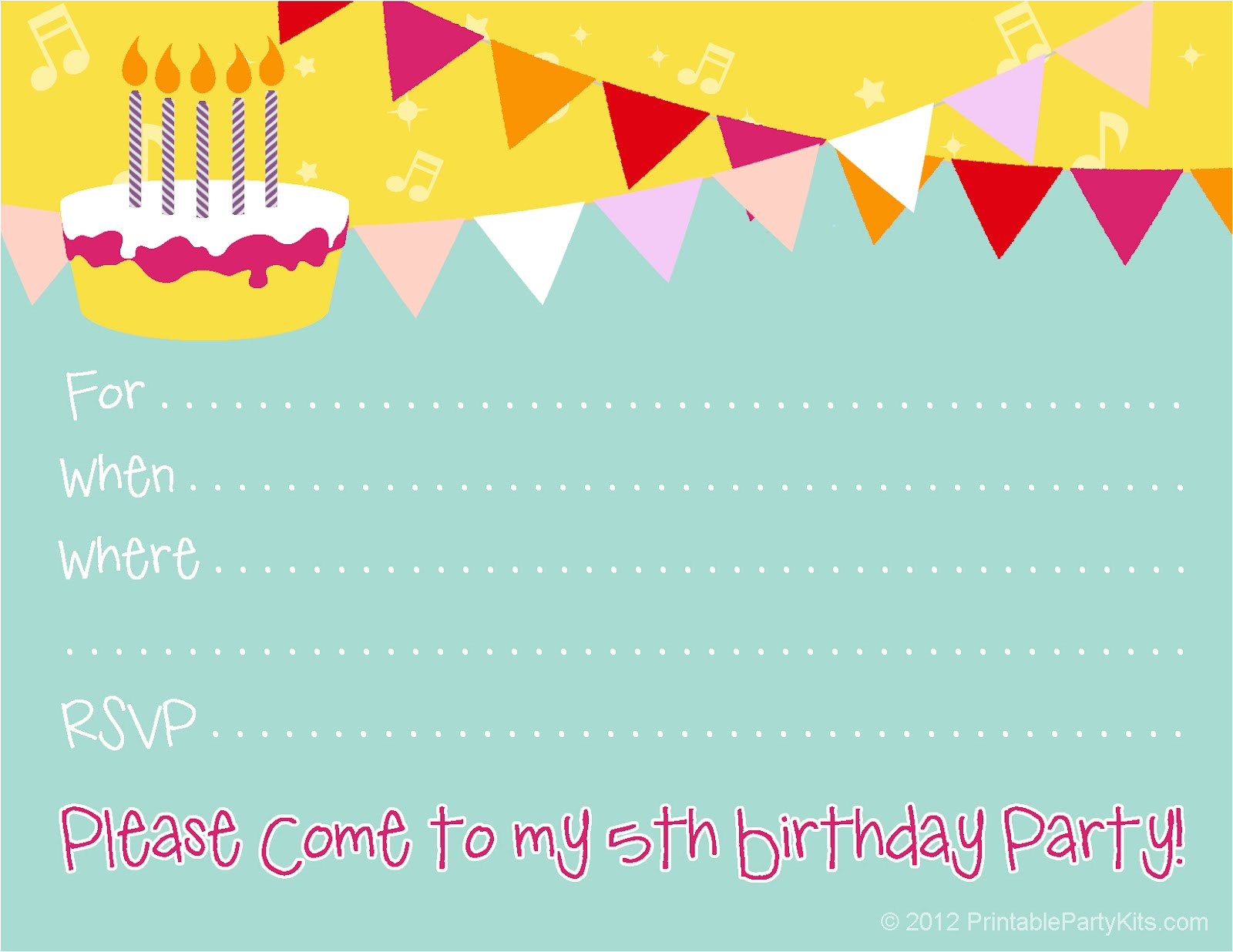 5th birthday party invitations 22