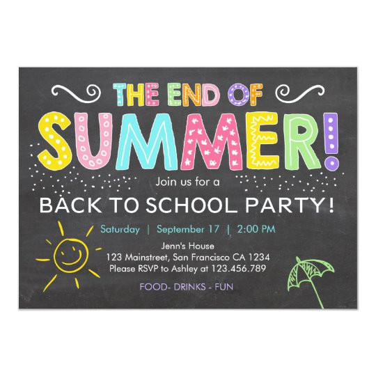 back to school end of summer party invitation 256307369214205005