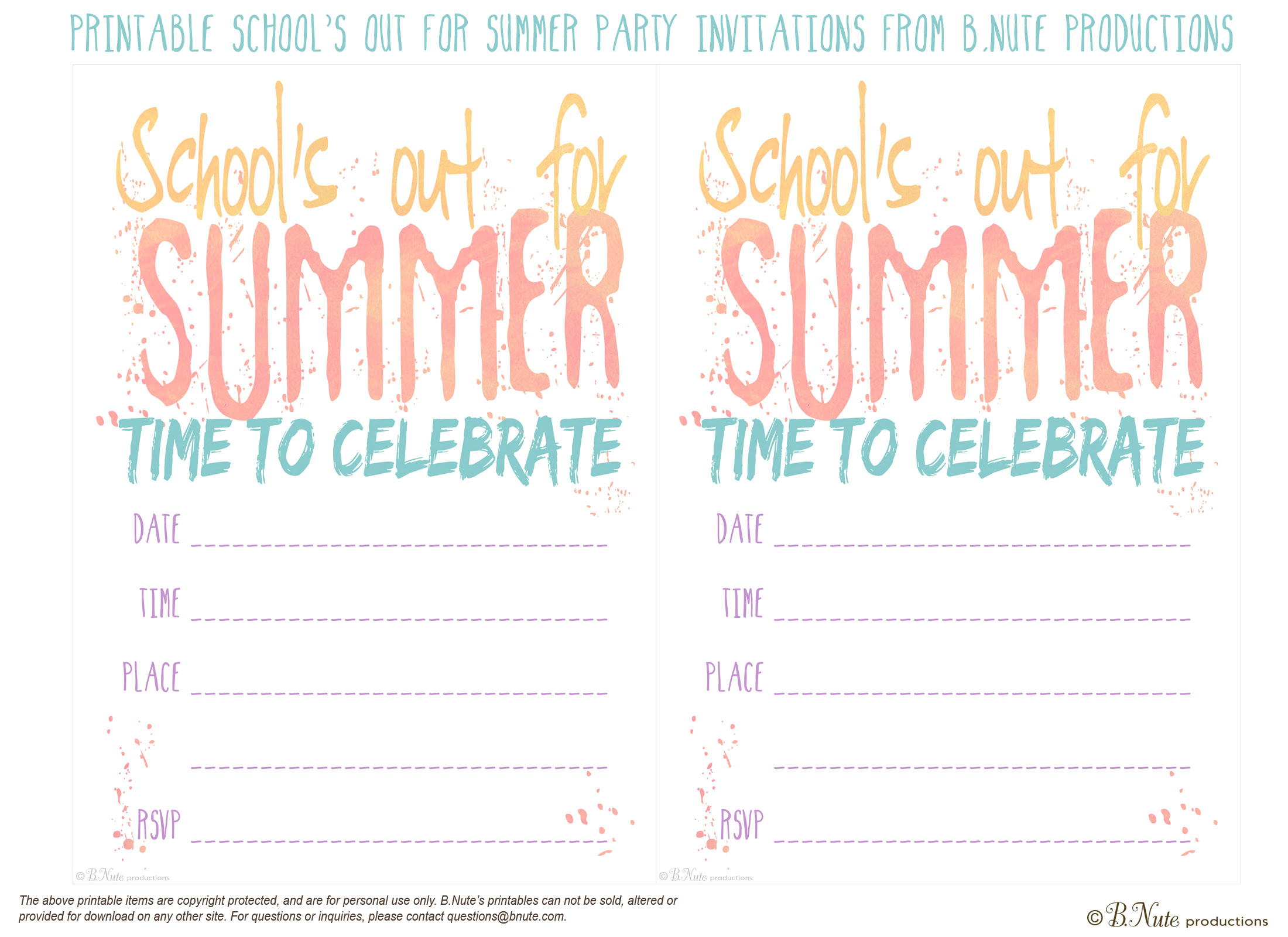 free printable schools out for summer