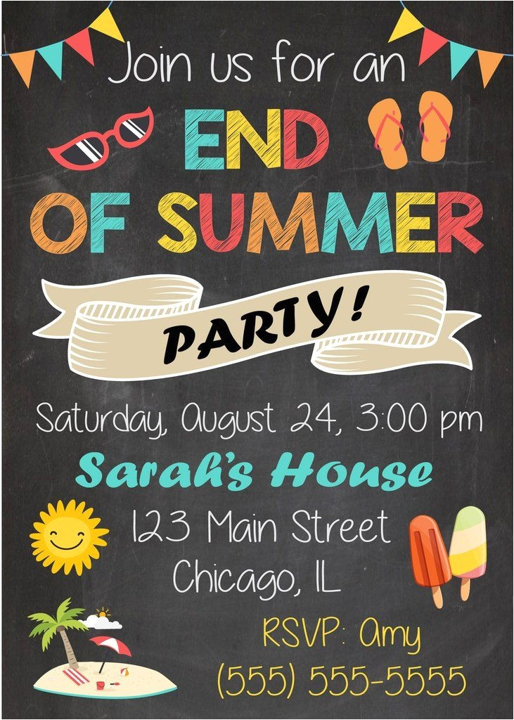 great end of school party invitation templates gallery