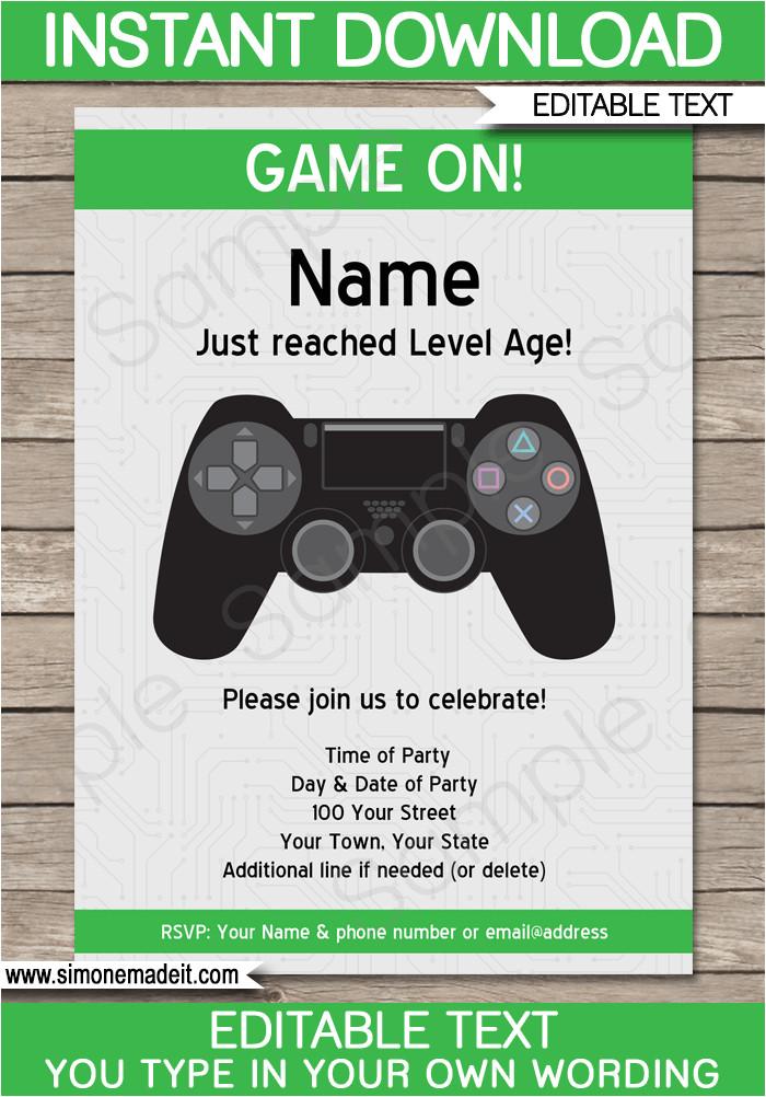 playstation party printables invitations