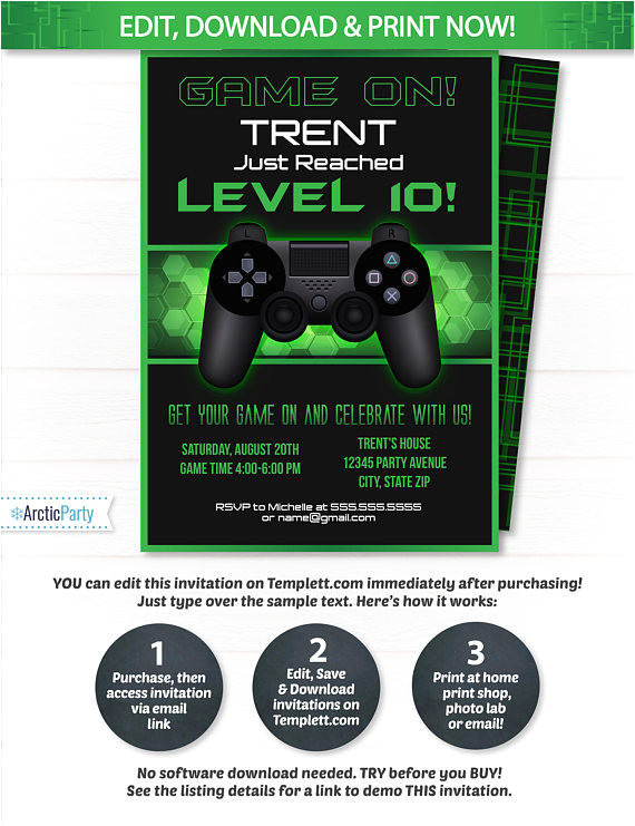 video game party invitations video game