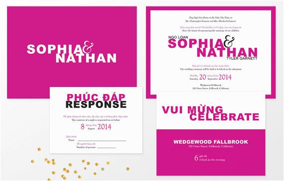 modern vietnamese bilingual wedding invitation