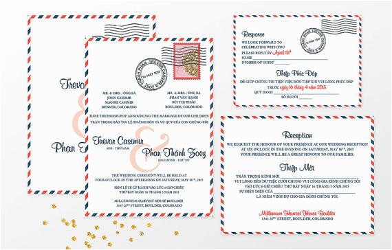 vietnamese airmail bilingual wedding invitation