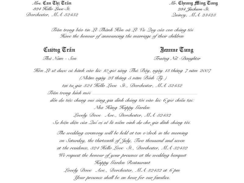 vietnamese wedding invitation template