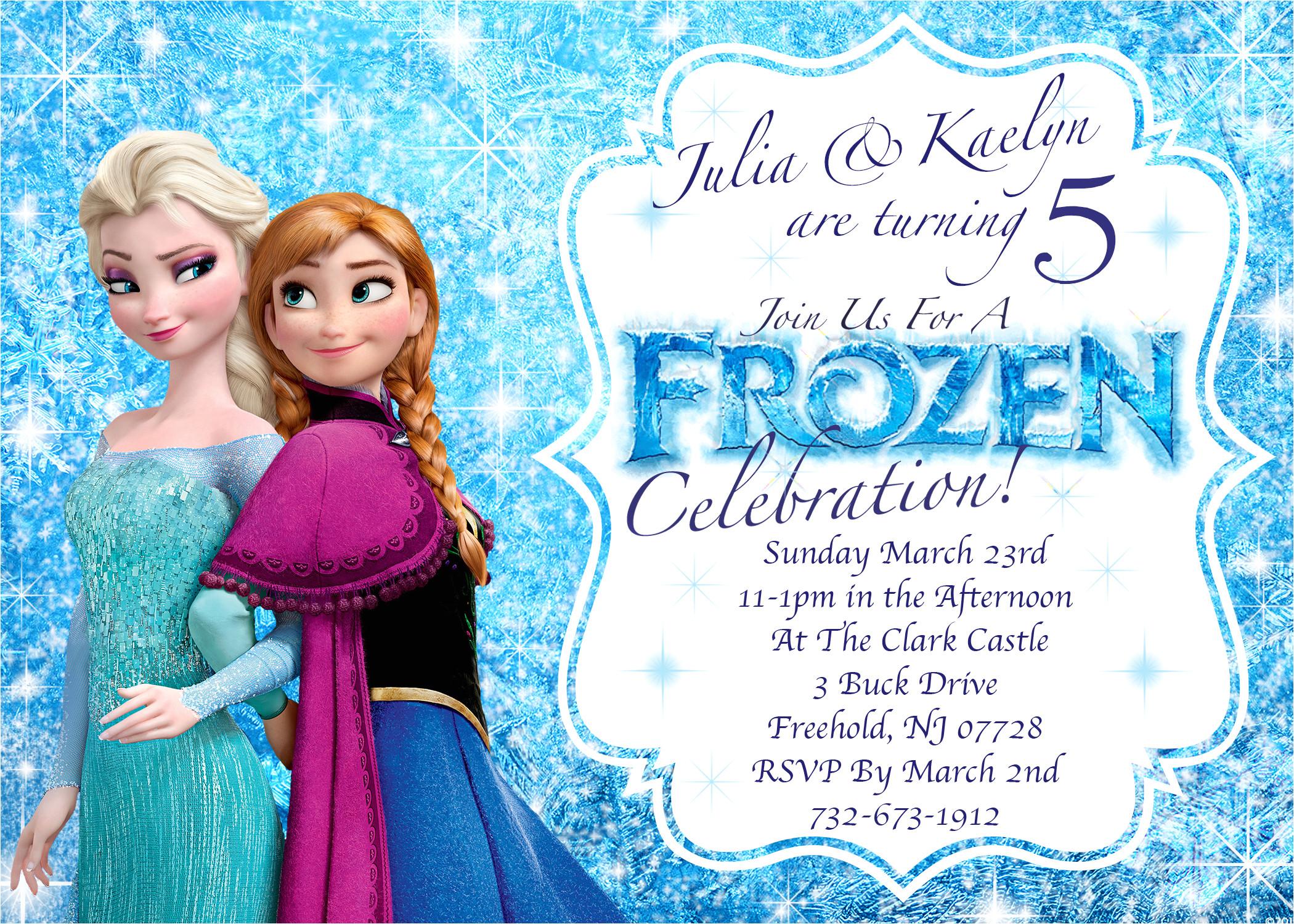 disneys frozen winter birthday invitation printable twin or sibling invitation 2